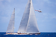 Rebecca sailing in the 2010 St. Barth's Bucket superyacht regatta, race 2.