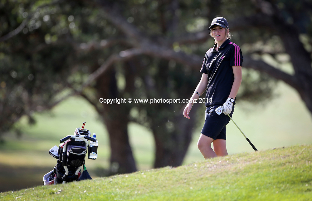 Emma Clayton on the final day of the Taranaki Energy Open, New Plymouth Golf Club, New Zealand. Sunday 14 April, 2013. Photo: John Cowpland / photosport.co.nz
