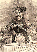 William Schwenck Gilbert (1836-1911) English librettist and dramatist, best remembered for his collaboration with the composer Arthur Sullivan on the Savoy light operas (1877-1896). Cartoon by Edward Linley Sambourne in the Punch's Fancy Portraits series from 'Punch' (London, 6 August 1881).