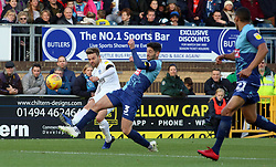 Matt Godden of Peterborough United puts a cross in beyond Joe Jacobson of Wycombe Wanderers - Mandatory by-line: Joe Dent/JMP - 03/11/2018 - FOOTBALL - Adam's Park - High Wycombe, England - Wycombe Wanderers v Peterborough United - Sky Bet League One