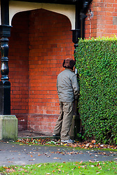 Homeless man urinates in public, Endcliffe Park Sheffield<br />