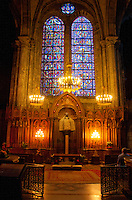 "Our Lady of Chartres Cathedral, Chartres, France. The beautiful Madonna side chapel, also known as ""Our Lady of the Pillar"" with a statue of the Virgin Mary."