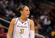June 10, 2010; Phoenix, AZ, USA; Phoenix Mercury guard Diana Taurasi reacts against Minnesota Lynx during the second half at US Airways Center.  The Mercury defeated the Lynx 99-88.  Mandatory Credit: Jennifer Stewart-US PRESSWIRE.