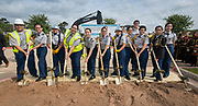 JROTC members pose for a photograph during a groundbreaking ceremony for new Sam Houston Math, Science and Technology Center School, March 24, 2017.