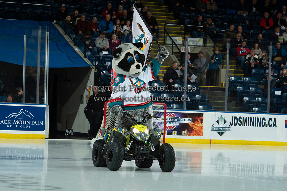 KELOWNA, CANADA - DECEMBER 5: Kelowna Rockets' mascot Rocky Raccoon enters the ice against the Tri-City Americans on December 5, 2018 at Prospera Place in Kelowna, British Columbia, Canada.  (Photo by Marissa Baecker/Shoot the Breeze)