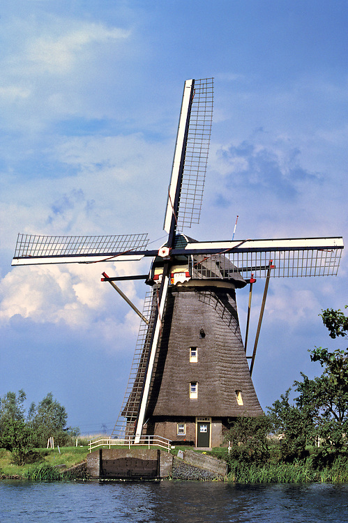 A windmill is at rest at Kinderdijk, Netherlands.