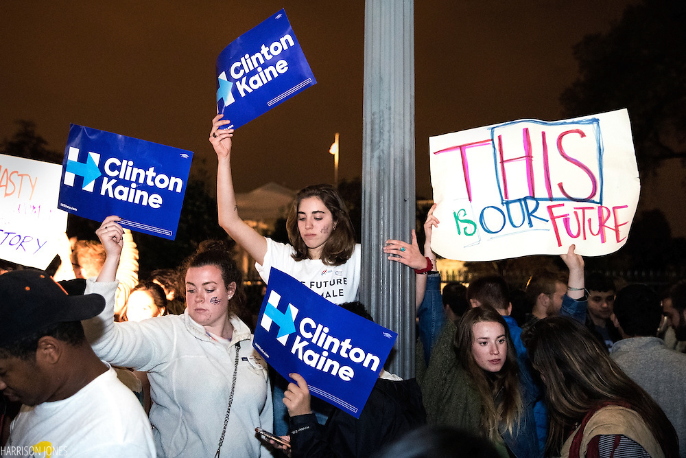 Supporters of democratic nominee Hillary Clinton hang their heads in response to the election results in front of the White House in Washington early on the morning of Nov. 9, 2016. After a long and bitter campaign, President-Elect Donald J. Trump, republican nominee, was elected to be the 45th president.