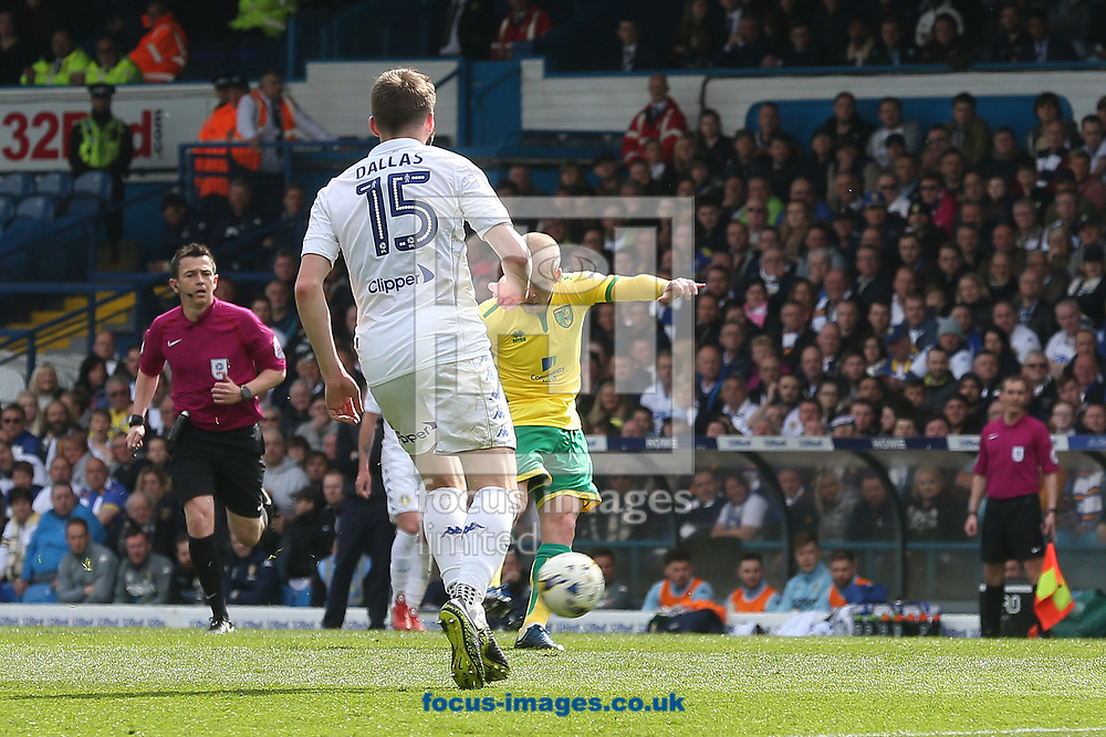 Steven Naismith of Norwich scores his sides 1st goal during the Sky Bet Championship match at Elland Road, Leeds<br /> Picture by Paul Chesterton/Focus Images Ltd +44 7904 640267<br /> 29/04/2017