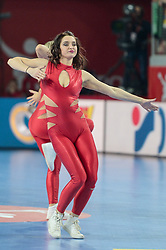 Cheerleader during handball match between National teams of Macedonia and Czech Republic on Day 6 in Main Round of Men's EHF EURO 2018, on January 23, 2018 in Arena Varazdin, Varazdin, Croatia. Photo by Mario Horvat / Sportida