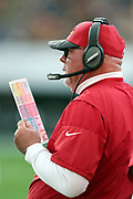 Arizona Cardinals head coach Bruce Arians calls a play while holding his play chart on the sideline during the 2016 NFL week 17 regular season football game against the Los Angeles Rams on Sunday, Jan. 1, 2017 in Los Angeles. The Cardinals won the game 44-6. (©Paul Anthony Spinelli)