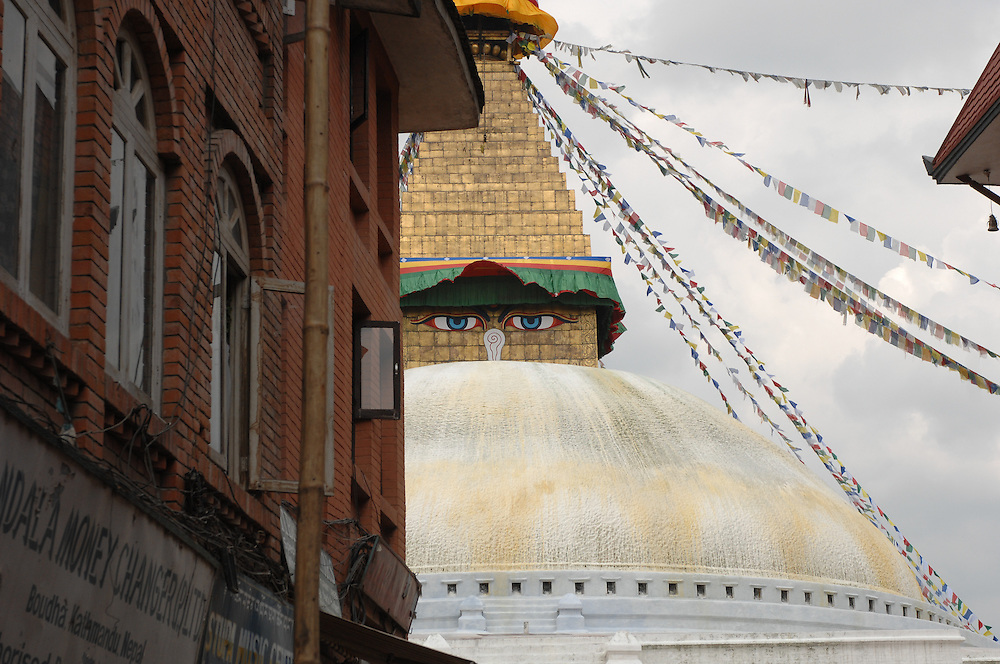A view approaching Boudhanath stupa in Nepal.
