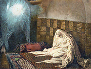 Annunciation: Archangel Gabriel appearing to Virgin Mary to tell her she will bear Jesus. Illustration by JJ Tissot for his 'Life of Our Saviour Jesus Christ' 1897. Oleograph.