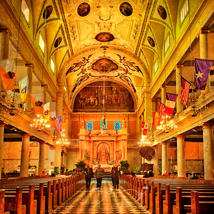 Tourists walk through the St. Louis Cathedral, November 15, 2015 in New Orleans, Louisiana. The cathedral, designated a minor basilica, is among the oldest cathedrals in the United States. It was built in 1794 in the Renaissance and Spanish Colonia styles. It is located across from Jackson Square in New Orleans. (Photo by Carmen K. Sisson/Cloudybright)