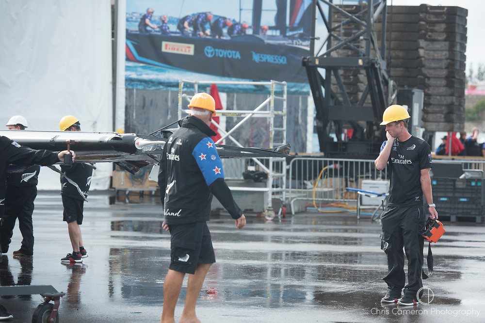 The Great Sound, Bermuda. 6th June 2017. Emirates Team New Zealand remove the damaged wing after capsizing in the pre start for their 4th Louis Vuitton America's Cup Challenger Playoff Semi-Final against Land Rover BAR (GBR).