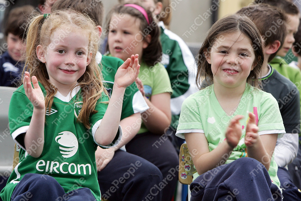 PIctured at Gael Scoil Kilrush to launch their green flag on Friday 17th June 2011 were Sorcha Ni Mhaoldomhnaigh &amp; Emma Ni Dhroma.<br /> Emma Jervis / Press 22