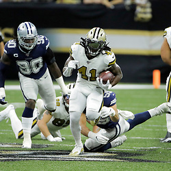 Sep 29, 2019; New Orleans, LA, USA; New Orleans Saints running back Alvin Kamara (41) runs past Dallas Cowboys outside linebacker Leighton Vander Esch (55) during the first quarter at the Mercedes-Benz Superdome. Mandatory Credit: Derick E. Hingle-USA TODAY Sports