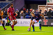 Duhan van der Merwe (#11) of Edinburgh Rugby scores his second try for Edinburgh during the Guinness Pro 14 2019_20 match between Edinburgh Rugby and Scarlets at BT Murrayfield Stadium, Edinburgh, Scotland on 26 October 2019.