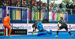 Germany are unable to stop Mink Van Der Weerden's shot as The Netherlands go two up. The Netherlands v Germany - Final Unibet EuroHockey Championships, Lee Valley Hockey & Tennis Centre, London, UK on 29 August 2015. Photo: Simon Parker