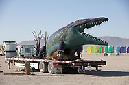 Niloticus Build<br /> by: Peter Hazel<br /> from: Reno, NV<br /> year: 2019<br /> <br /> Niloticus is a 40 foot long mosaic crocodile that invites visitors to climb on top of him. His eyes, teeth, and osteoderms will light up in the night.<br /> <br /> Contact: peter@peterhazel.com<br /> <br /> https://burningman.org/event/brc/2019-art-installations/?yyyy=&artType=H#a2I0V000001AW2iUAG My Burning Man 2019 Photos:<br />