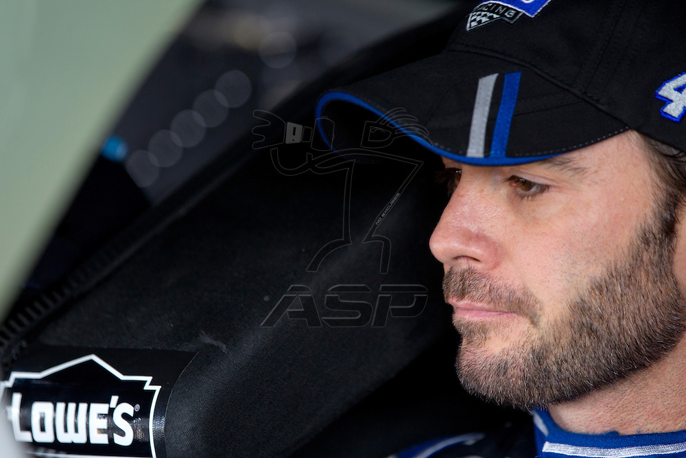 Kansas City, KS - APR 20, 2012:  Jimmie Johnson (48) before a practice session for the STP 400 race at the Kansas Speedway in Kansas City, KS.