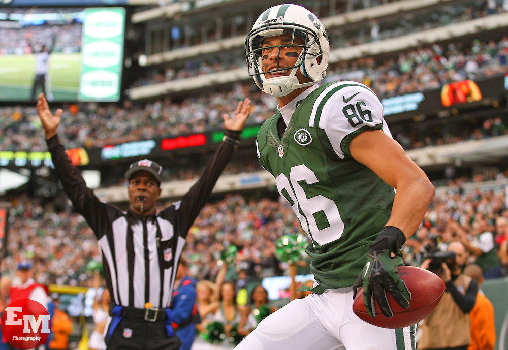 Dec 22, 2013; East Rutherford, NJ, USA; New York Jets wide receiver David Nelson (86) celebrates his touchdown during the second half of their game against the Cleveland Browns at MetLife Stadium.  The Jets defeated the Browns 24-13.