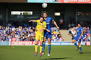 AFC Wimbledon defender Paul Robinson (6) beating Bristol Rovers striker Luke James (29) to a header during the EFL Sky Bet League 1 match between AFC Wimbledon and Bristol Rovers at the Cherry Red Records Stadium, Kingston, England on 8 April 2017. Photo by Matthew Redman.