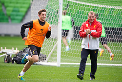 MELBOURNE, AUSTRALIA - Monday, July 22, 2013: Liverpool's Joe Allen and manager Brendan Rodgers during a training session at Aami Park ahead of their preseason friendly against Melbourne Victory. (Pic by David Rawcliffe/Propaganda)