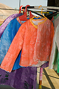Israel, Hiriya, the recycling museum, recycled plastic converted into colourful clothes