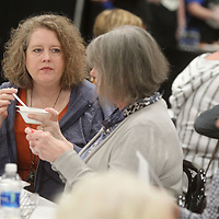 Jeannie Grandin, of Tupelo, enjoys her soup as she has lunch with her mother, Lynda Cole, of Aberdeen, at the Salvation Army's 20th Annual Empty Bowls Luncheon at Building V of the Tupelo Furniture Market Wednesday.