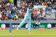 Wicket - Jonny Bairstow of England is bowled by Lockie Ferguson of New Zealand during the ICC Cricket World Cup 2019 Final match between New Zealand and England at Lord's Cricket Ground, St John's Wood, United Kingdom on 14 July 2019.