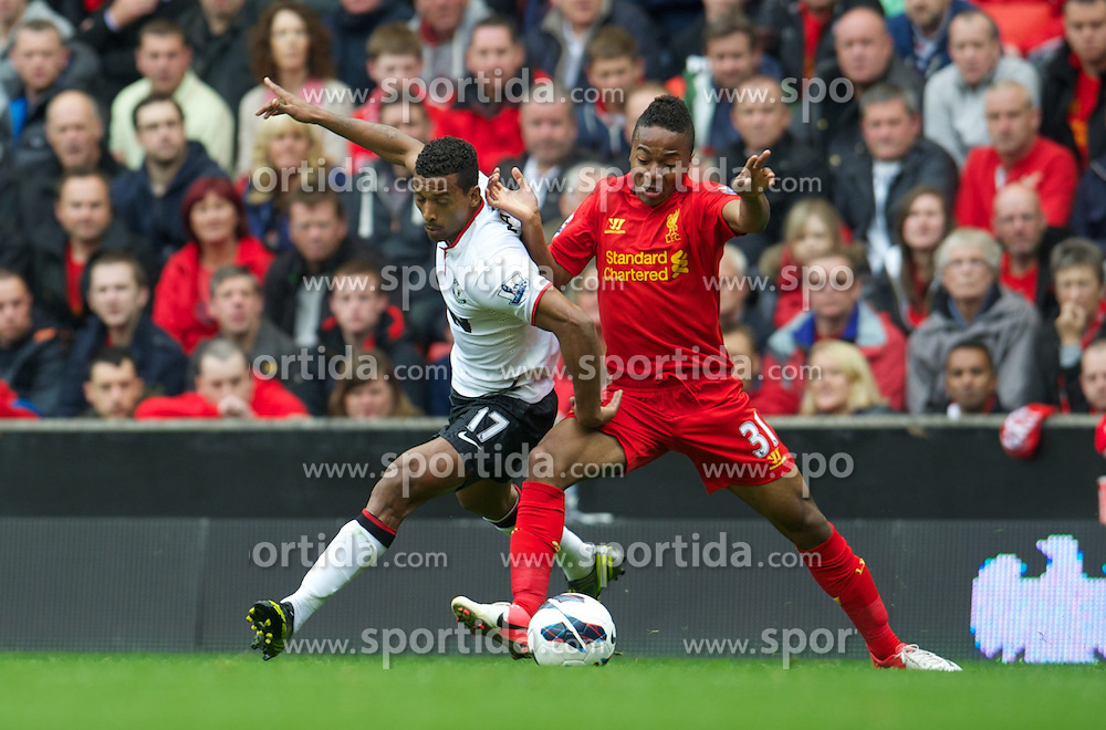 23.09.2012, Anfield, Liverpool, ENG, Premier League, FC Liverpool vs Manchester United, 5. Runde, im Bild Liverpool's Raheem Sterling in action against Manchester United's Nani during the English Premier League 5th round match between Liverpool FC and Manchester United at Anfield, Liverpool, Great Britain on 2012/09/23. EXPA Pictures © 2012, PhotoCredit: EXPA/ Propagandaphoto/ David Rawcliff..***** ATTENTION - OUT OF ENG, GBR, UK *****