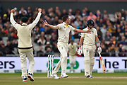 Wicket - Josh Hazlewood of Australia celebrates taking the wicket of Joe Root of England during the International Test Match 2019, fourth test, day three match between England and Australia at Old Trafford, Manchester, England on 6 September 2019.