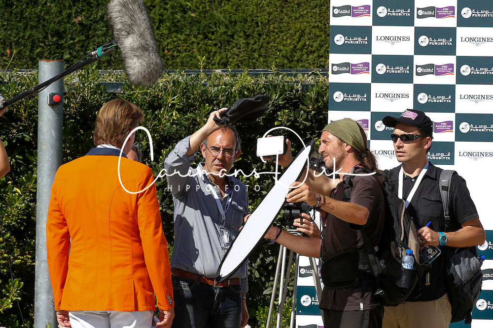 Dubbeldam Jeroen (NED) being interviewed by Spanish television<br /> Furusiyya FEI Nations Cup Jumping Final <br /> CSIO Barcelona 2013<br /> © Dirk Caremans
