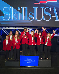 The 2017 SkillsUSA National Leadership and Skills Conference Competition Medalists were announced Friday, June 23, 2017 at Freedom Hall in Louisville. <br /> <br /> Health Knowledge Bowl<br /> <br /> Team J (consisting of Alaina Gosche, Madison Jones, Jessica Holman, Alexis Herr)<br />   High School Vanguard-Sentinel CTC-Sentinel Campus<br />   Gold Tiffin, OH<br /> Health Knowledge BowlTeam G (consisting of Julia Garaffa, Matthew Natividad, Parth Patel, Palak Shah)<br />   High School Somerset County Academy of Medical Sciences<br />   Silver Bridgewater, NJ<br /> Health Knowledge BowlTeam D (consisting of Macy Williams, Samantha Baker, Ashley Phipps, Andrea Blochberger)<br />   High School Eldon Career Center<br />   Bronze Eldon, MO<br /> Health Knowledge BowlTeam B (consisting of Megan Keene, Alexandra Stephens, Bryant Phelps, Taylor Haynes)<br />   College Central Georgia Technical College<br />   Gold Macon, GA<br /> Health Knowledge BowlTeam D (consisting of Bryana Pyle, Rachel Miller, Sarah Duggan, Wesley Stiles)<br />   College Tennessee College of Applied Tech-Murfreesboro<br />   Silver Murfreesboro, TN<br /> Health Knowledge BowlTeam F (consisting of Sarah Shepherd, Ashley Hobson, Sarah Brown, Hannah Johnson)<br />   College Wilkes Community College<br />   Bronze Wilkesboro, NC