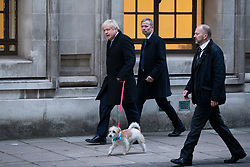 © Licensed to London News Pictures. 12/12/2019. London, UK. Prime Minister Boris Johnson arrives to cast his vote at the Methodist Central Hall in Westminster . Photo credit: George Cracknell Wright/LNP