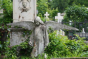 mourning angel statue at Serban Voda cemetery (commonly known as Bellu cemetery) is the largest and most famous cemetery in Bucharest, Romania.
