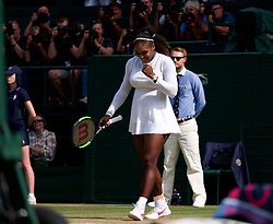 LONDON, ENGLAND - Thursday, July 12, 2018: Serena Williams (USA) celebrates after winning 6-2, 6-4 during the Ladies' Singles Semi-Final match on day ten of the Wimbledon Lawn Tennis Championships at the All England Lawn Tennis and Croquet Club. (Pic by Kirsten Holst/Propaganda)