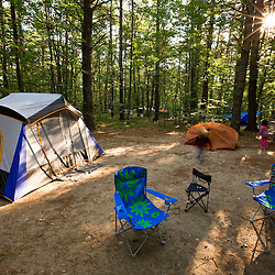 An early morning camp scene in Greenfield State Park in Greenfield, New Hampshire.
