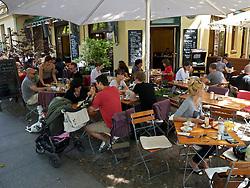 Cafe in bohemian Helmholtzplatz in Prenzlauer Berg Berlin Germany