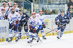 16.01.2015, Saturn Arena, Ingolstadt, GER, DEL, ERC Ingolstadt vs Schwenninger Wild Wings, 39. Runde, im Bild von links: Ashton Rome (Nr.44, Schwenninger Wild Wings), Martin Davidek (Nr10, ERC Ingolstadt), Stephan Wilhelm (Nr.15, Schwenninger Wild Wings) und Derek Hahn (Nr.42, ERC Ingolstadt) // during Germans DEL Icehockey League 39th round match between ERC Ingolstadt and Schwenninger Wild Wings at the Saturn Arena in Ingolstadt, Germany on 2015/01/16. EXPA Pictures © 2015, PhotoCredit: EXPA/ Eibner-Pressefoto/ Strisch<br /> <br /> *****ATTENTION - OUT of GER*****