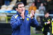 Burton Albion's manager Nigel Clough applauds his players and the fans after the final whistle during the EFL Sky Bet Championship match between Burton Albion and Bolton Wanderers at the Pirelli Stadium, Burton upon Trent, England on 28 April 2018. Picture by John Potts.