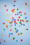 Colourful Helium balloons released into the blue sky at a celebration