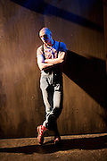 Barbarians <br /> by Barrie Keeffe <br /> directed by Liz Stevenson <br /> at The Young Vic Theatre, London, Great Britain <br /> press photocall <br /> 1st December 2015 <br /> <br /> <br /> Alex Austin as Jan <br /> <br /> <br /> <br /> Photograph by Elliott Franks <br /> Image licensed to Elliott Franks Photography Services