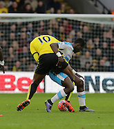 Cheick Tiotte locks horns with Obbi Oulare during the The FA Cup Third Round match between Watford and Newcastle United at Vicarage Road, Watford, England on 9 January 2016. Photo by Dave Peters.