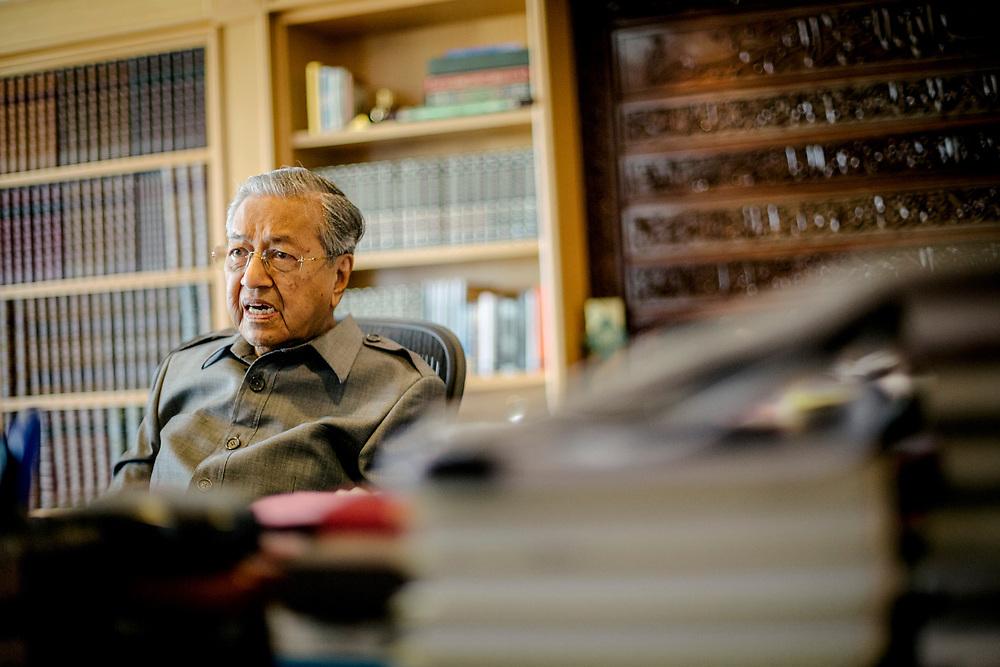 Mahatir Mohamad, Malaysia's former prime minister, poses for a photograph at the Perdana Leadership Foundation in Putrajaya on 11 April 2018. CREDIT: IAN TEH for The Wall Street Journal. SLUG: Mahatir