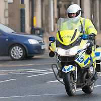 Police Scotland BMW motorbikes pictured on Tay Street, Perth....<br /> Picture by Graeme Hart.<br /> Copyright Perthshire Picture Agency<br /> Tel: 01738 623350  Mobile: 07990 594431