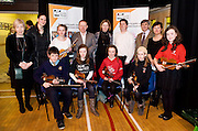 Fiona Buckley, Coole Music, Katharina Baker, Director, Coole Music, Ella Doherty, Letterkenny Children's Orchestra, Ciaran Cannon, TD, Minister for Training and Skills, Una McCarthy, The Arts Council, Allin Gray, The Irish Association of Youth Orchestras (IAYO), Adrian Petcu, Cork School of Music (retired), Emily Brady, Coole Music Steering Group and Dulra Hanley, Sligo Academy of Music Junior Orchestra.and seated Jonathon Chia from St. Mary's Boys School. Limerick, Ellen Lynch, Coole Music Junior Orchestra, Jennifer O'Keeffe, Kilkenny Junior Strings and Chloe Fitzgerald, Athenry Junior Orchestra. Photo:Andrew Downes Photography.