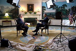 President Barack Obama participates in an interview with Steve Croft of 60 Minutes in the Diplomatic Reception Room of the White House, Sept. 26, 2014. (Official White House Photo by Pete Souza)<br /> <br /> This official White House photograph is being made available only for publication by news organizations and/or for personal use printing by the subject(s) of the photograph. The photograph may not be manipulated in any way and may not be used in commercial or political materials, advertisements, emails, products, promotions that in any way suggests approval or endorsement of the President, the First Family, or the White House.
