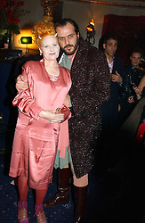 Top British fashion designer VIVIENNE WESTWOOD and her husband MR ANDREAS KRONTHALER at a party and fashion show by Agent Provocateur at the Cafe de Paris, Coventry Street, London W1 on 14th February 2005.<br />