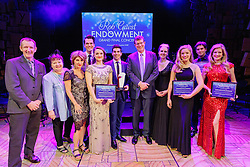 The six finalists - Georgina Hopson, Blake Appelqvist, Hilary Cole, recipient Daniel Assetta, Ashleigh Rubenach and Robert McDougall - perform on stage at the Rob Guest Endowment Gala 2015, at the Lyric Theatre in Sydney, on Monday, 9 November 2015.  <br /> <br /> Hosted by David Campbell and Lucy Durack, guest artists performing at the concert included musical theatre performers Rob Mills, Caroline O'Connor and Jemma Rix, Dirty Dancing star Mark Vincent, 2014 Rob Guest Endowment winner Josh Robson, and cast members from CATS and Matilda the Musical.<br /> <br /> The competition was judged by three of Australian musical theatre's finest creatives, Kelly Abbey, Peter Casey and Gale Edwards.<br /> <br /> The 2015 Rob Guest Endowment Award recipient was Daniel Assetta. <br /> <br /> The Melbourne's East End Theatre District Artist Development Award, an initiative of Mike Walsh and the Marriner family awarding a $5,000 cash prize to a promising young music theatre talent, went to Robert McDougall. <br /> <br /> The Playbill Future Prospect Award went to Rubin Matters. This award, generously sponsored by Playbill, is a $1,500 cash prize to a semi-finalist who didn't make the finals but the judges wanted to encourage to return to the competition next year.<br /> <br /> The Rob Guest Endowment Technical Award in Honour of Sue Nattrass was awarded to Drew Cipollone, and the Rob Guest Endowment Musician Award was won by Jack Earl.